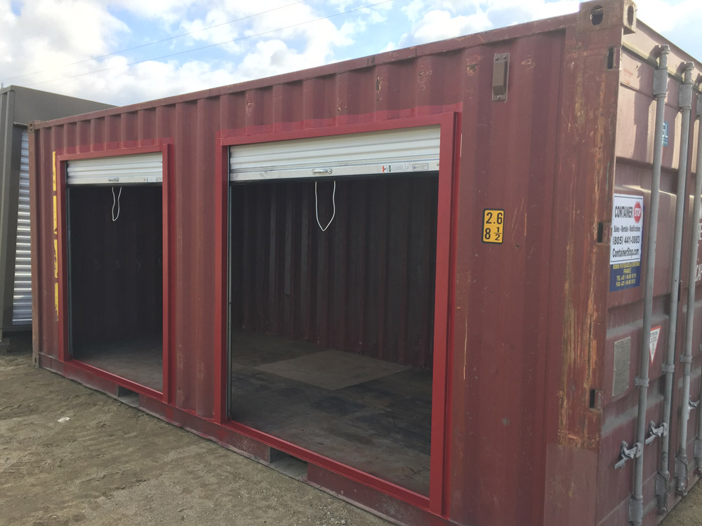 Shipping container turned into storage with two roll-up doors