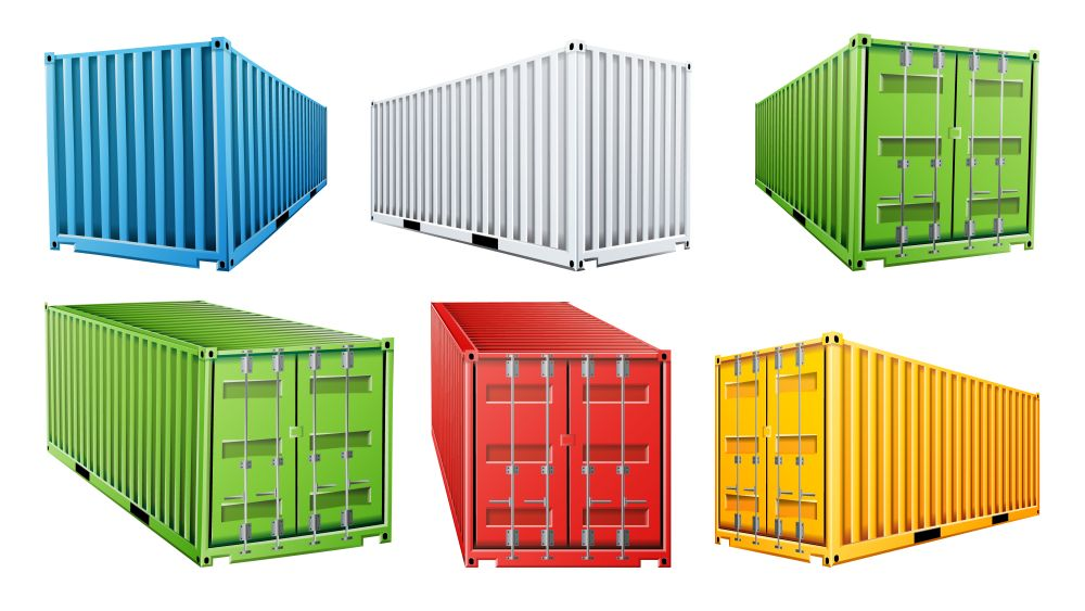 Pics of shipping containers in multiple colors to illustrate cost of shipping containers