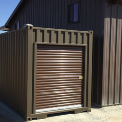Shipping container used for storage with secure door