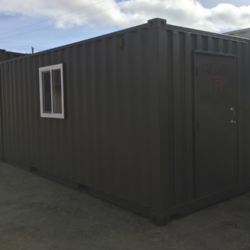 Shipping container with custom door and window