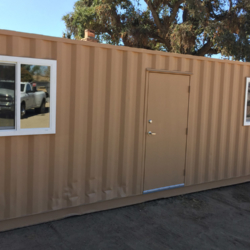 Custom shipping container with door and two windows