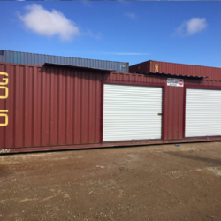 Shipping container with two roll up doors