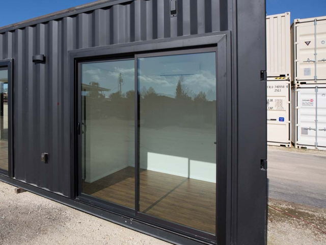 Custom Shipping container with custom sliding glass door