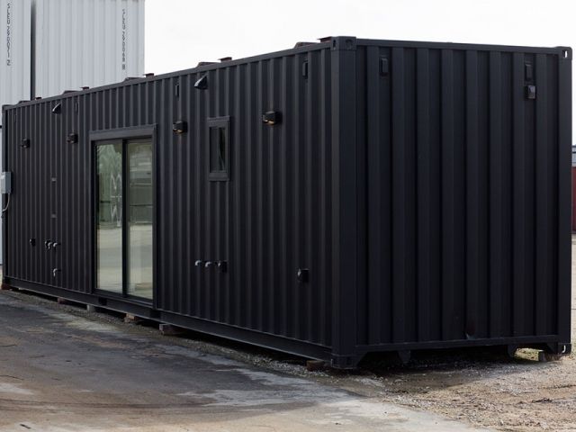 Black Shipping Container with custom sliding glass door