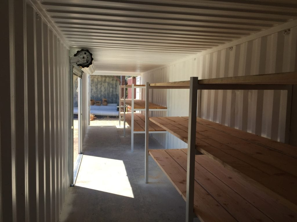 Heavy Duty shelves for commercial storing shipping container applications