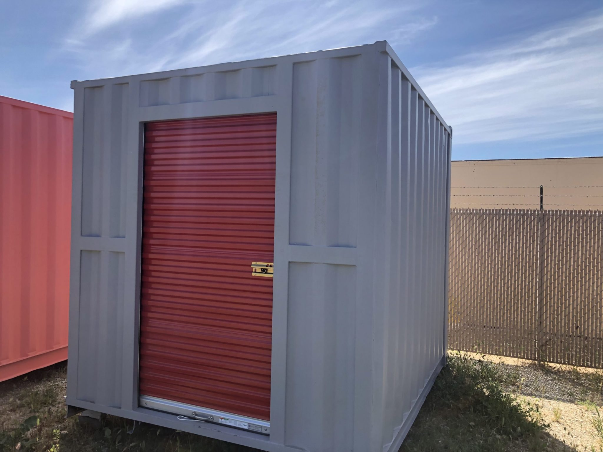 Small shipping container with secure door