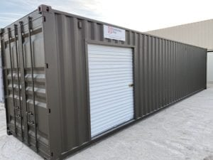 Shipping container with garage door customization