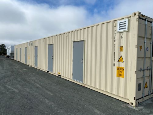 Custom shipping container with doors added