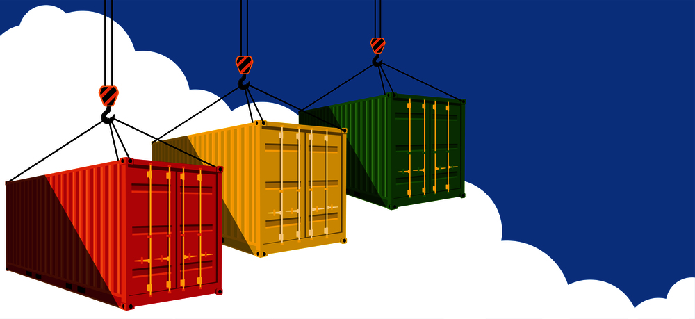 Illustration of thre shipping containers being lifted through a blue sky to illustrate Shipping Container Doors Opening to a Wider World